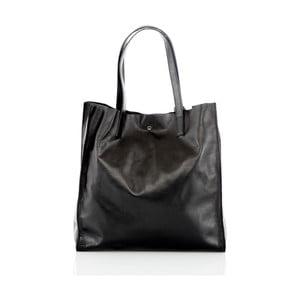 Čierna kožená ručne vyrobená kabelka Glorious Black Enza