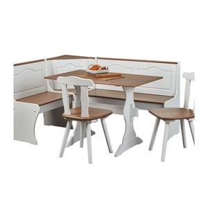 Set rohovej lavice, jedálenského stola a 2 stoličiek z masívneho borovicového dreva Interlink Wasterland