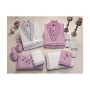 Set dámského a pánského županu, uterákov, osušiek a dvoch párov papúč v bielej a fialovej farbe Family Bath
