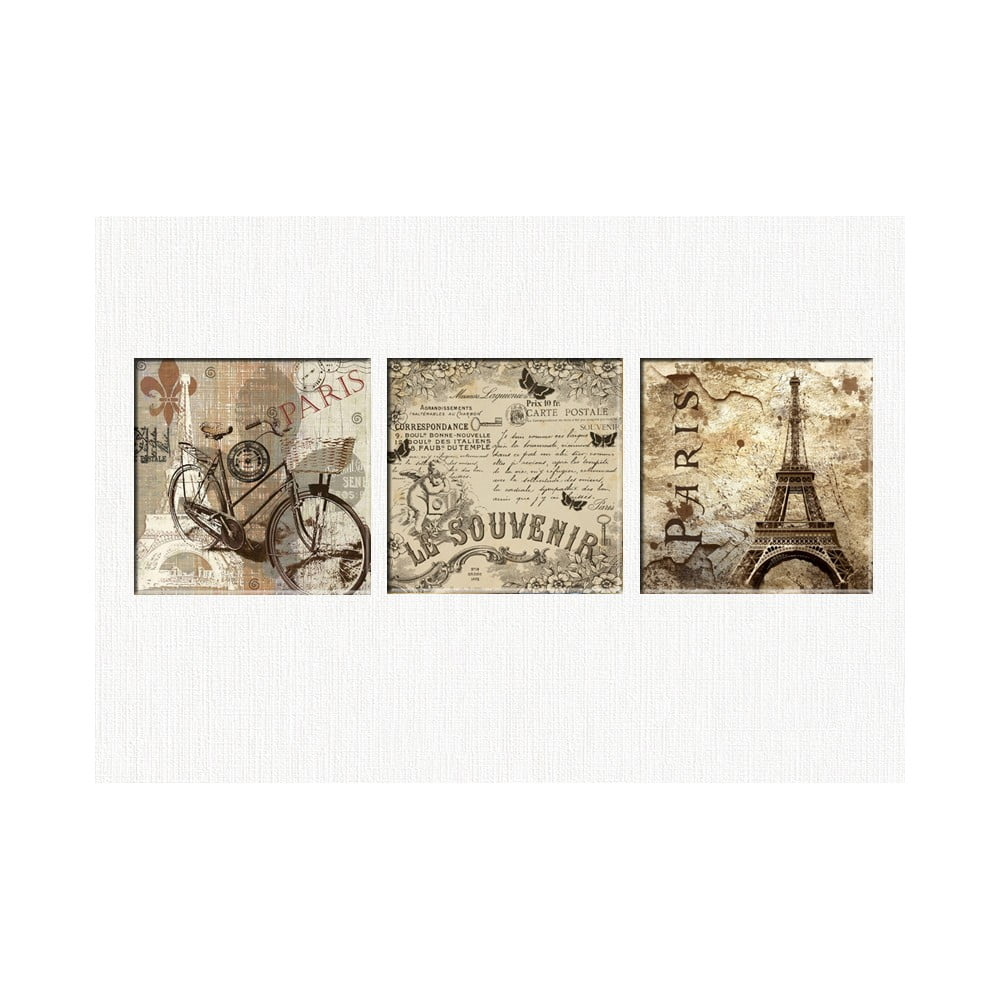Sada 3 obrazov Tablo Center Vintage Paris
