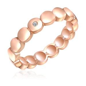Strieborný prsteň vo farbe ružového zlata s pravým diamantom Tess Diamonds Flo, veľ. 54