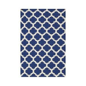Modrý ručne tkaný koberec Kilim Zircon, 120x180 cm