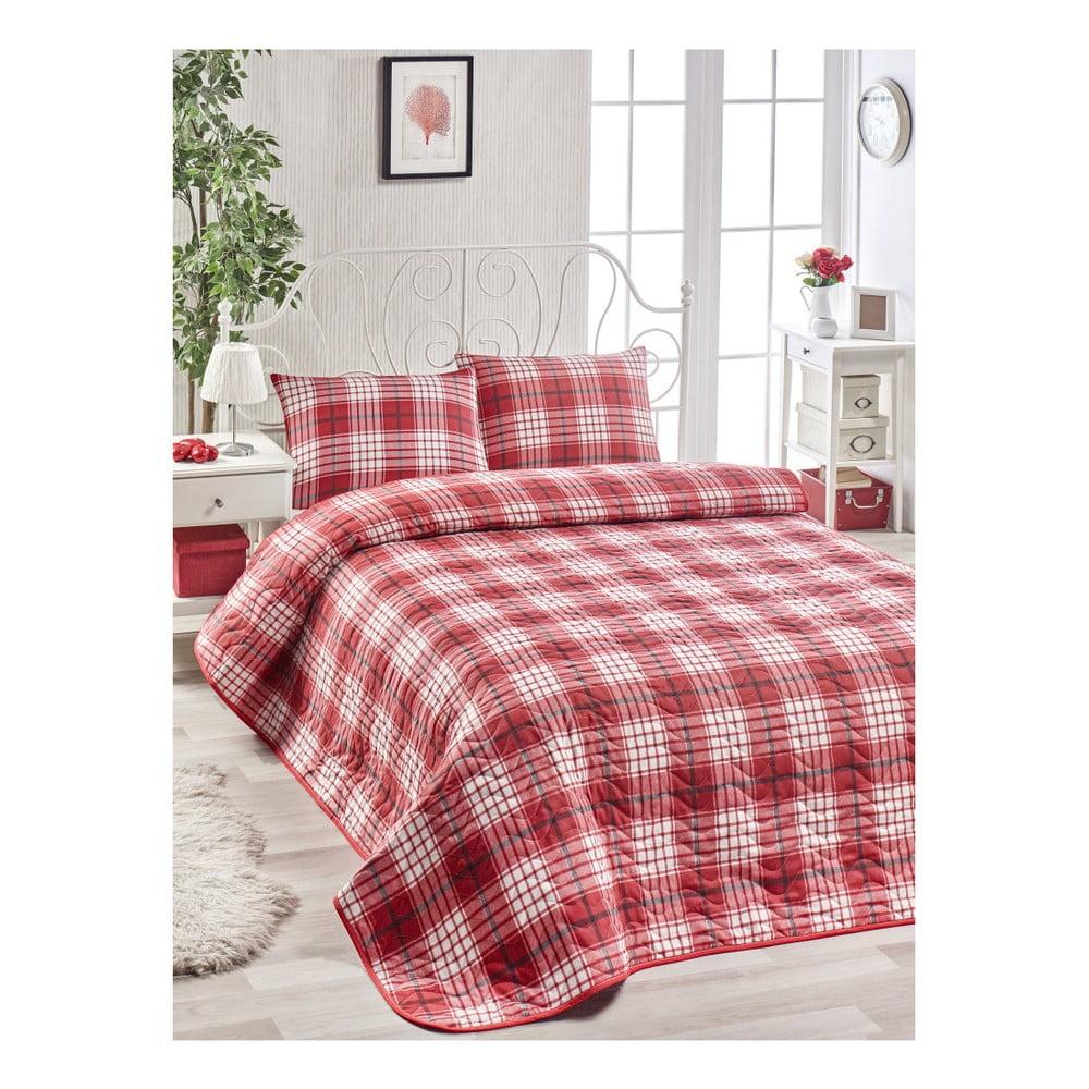 Set červenej bavlnenej prikrývky cez posteľ a 2 obliečok na vankúše Harro Mento, 200 × 220 cm