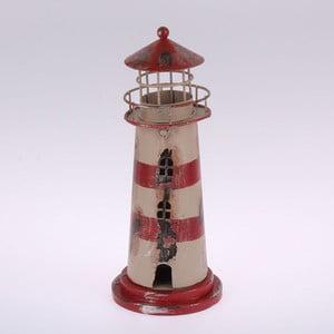 Kovový závesný svietnik Red Stripes Lighthouse, 22 cm