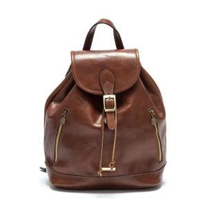 Hnedočervený dámský kožený batoh Anna Luchini Carinna