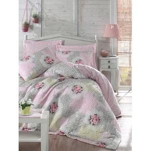 Prešívané obliečky s prestieradlom Melani Four Seasons Pink, 220 x 230 cm