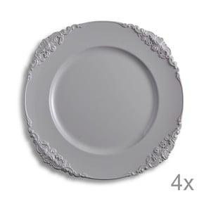 Sada 4 plastových tanierov Elegance Dove Grey