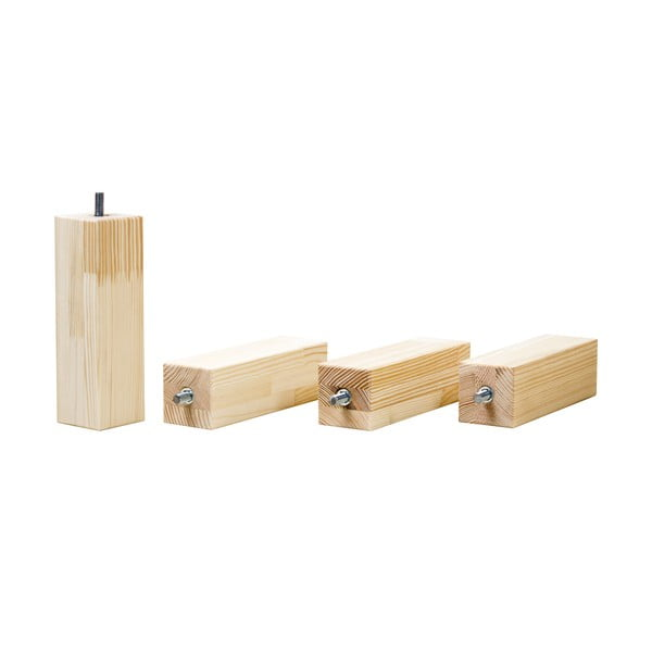 Sada 4 predĺžených nôh z prírodného smrekového dreva k posteli Benlemi, výška 20 cm