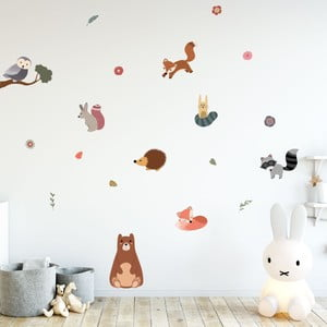 Sada nástenných detských samolepiek Ambiance Scandinavian Animals Bear and his Friends