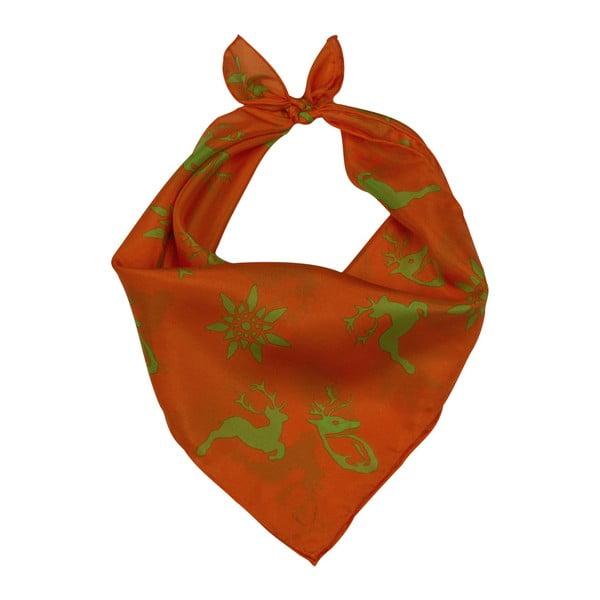 Oranžovo-zelená šatka Goldgeweih Emma