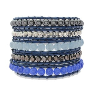 Modrý päťradový náramok z pravej kože s perlami Lucie & Jade