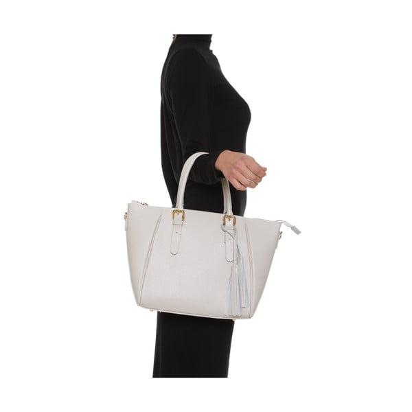 Béžová kožená kabelka Alessia