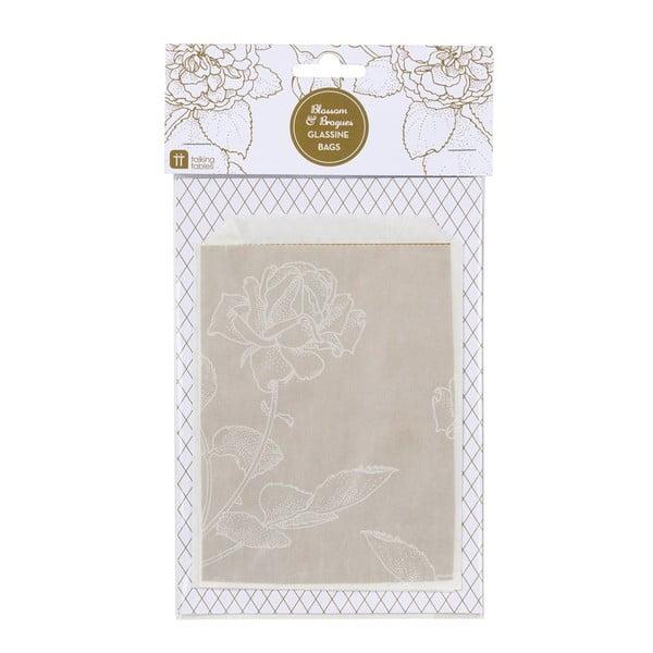 Sada 10 papierových vrecúšok Glassine Floral