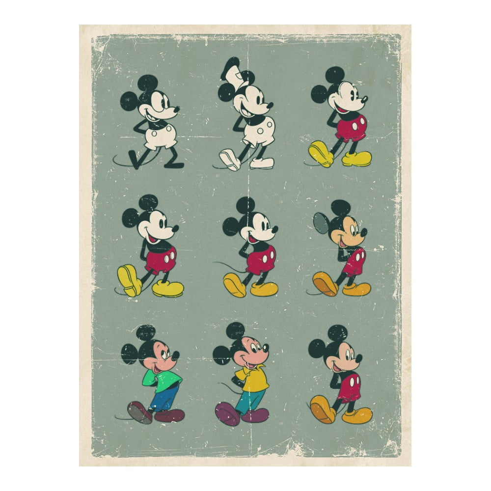 Obraz Pyramid International Mickey Mouse Evolution, 30 × 40 cm