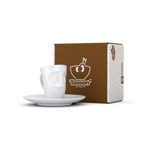 Biely sklamaný porcelánový hrnček na espresso s tanierikom 58products
