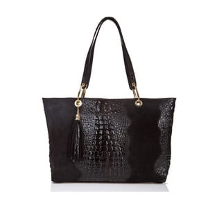Čierna kožená kabelka Massimo Castelli Barnaba