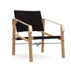 Čierne skladacie kreslo s konštrukciou z bambusu Moso We Do Wood Nomad