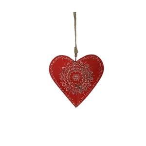 Závesná drevená dekorácia v tvare srdca Antic Line Red Warm