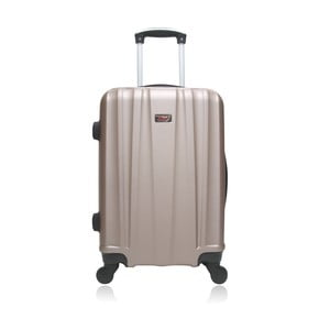 Béžový hnedý cestovný kufor na kolieskach Hero Journey, 61l