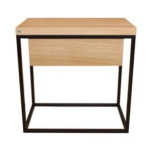 Čierny nočný stolík s doskou z dubového dreva Take Me HOME Moonlight, 50×30cm