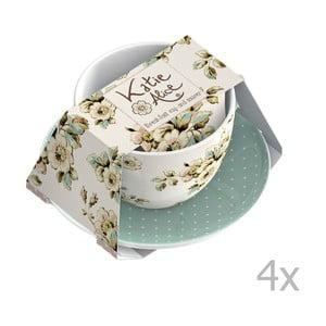 Sada 4 šálok s tanierikmi Katie Alice Cottage Flower, 355 ml