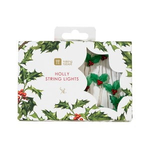Vianočná svetelná reťaz Talking Tables Botanical Holly, 30 svetielok