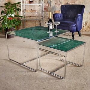 Sada 2 konferenčných stolíkov s podnožím v striebornej farbe a zelenú mramorovou doskou RGE Stella