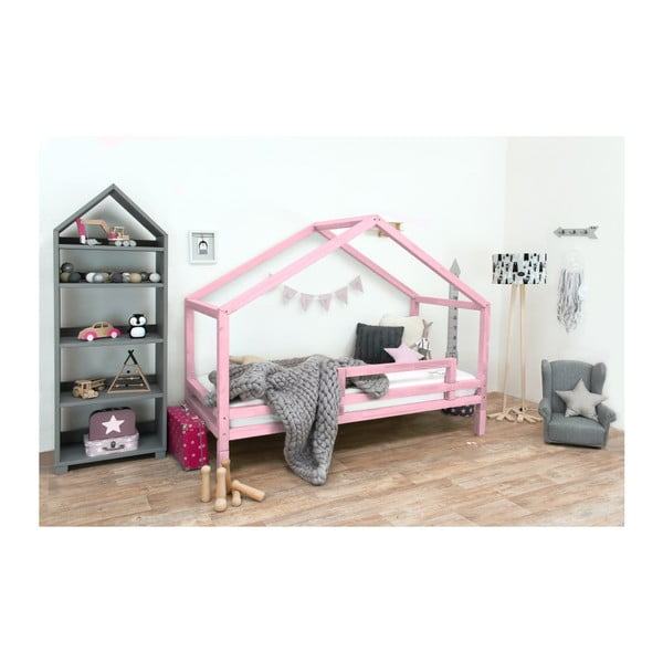 Ružová detská posteľ z lakovaného smrekového dreva Benlemi Sidy, 120 × 190 cm