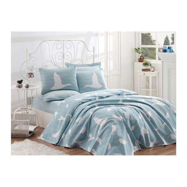 Bavlnený pléd cez posteľ na jednolôžko Single Pique Mint, 160 × 235 cm