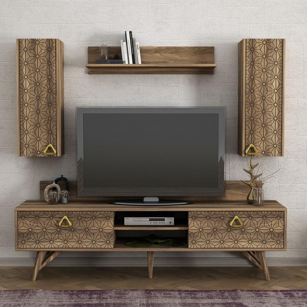 Set TV komody a nástenných skriniek v dekore orechového dreva Yakamoz