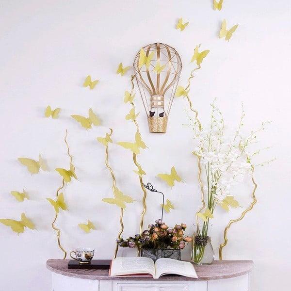 Sada 12 zlatých 3D samolepiek Ambiance Gold Butterflies