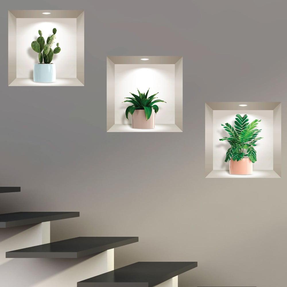 Sada 3 3D samolepiek na stenu Ambiance Houseplants