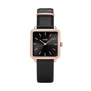Čierne dámske hodinky s hranatým ciferníkom Cluse La Tétragone