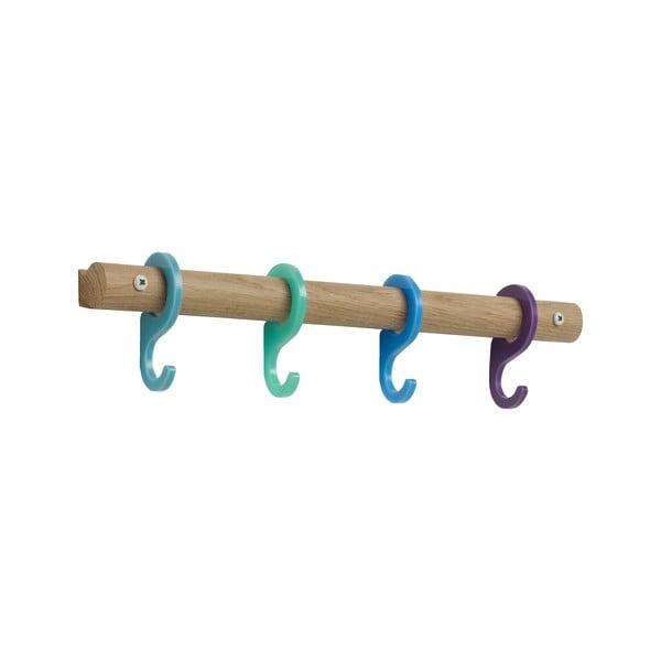 Vešiak s farebnými háčikmi Rainbow Blue, 40 cm