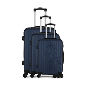 Sada 3 tmavomodrých cestovných kufrov na kolieskach VERTIGO Cadenas Integre Roues