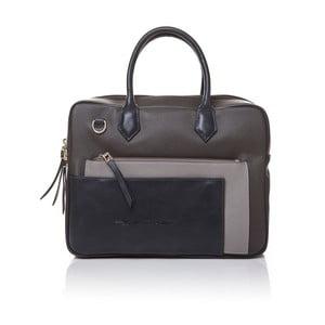 Kožená kabelka do ruky Marta Ponti Case, béžová/sivá