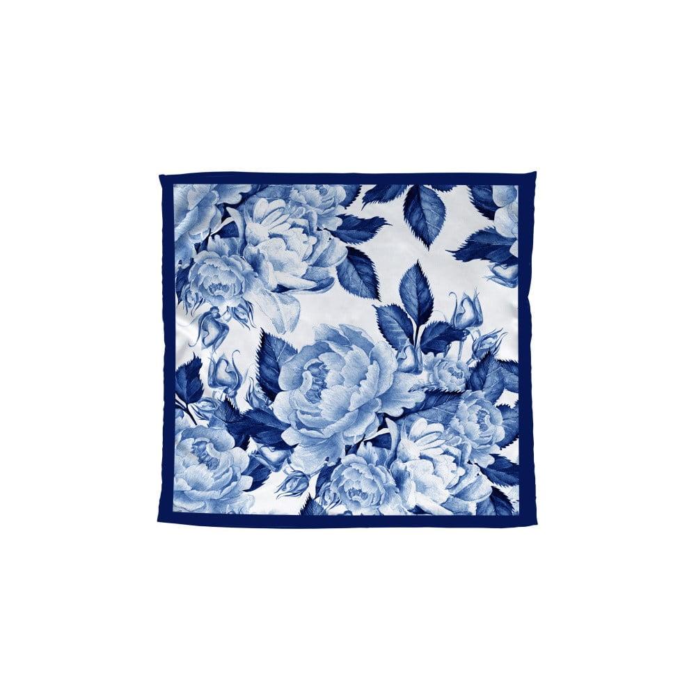 Modrá šatka Madre Selva Blue Flowers, 55 × 55 cm