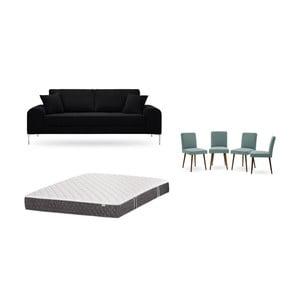 Set trojmiestnej čiernej pohovky, 4 sivozelených stoličiek a matraca 160 × 200 cm Home Essentials