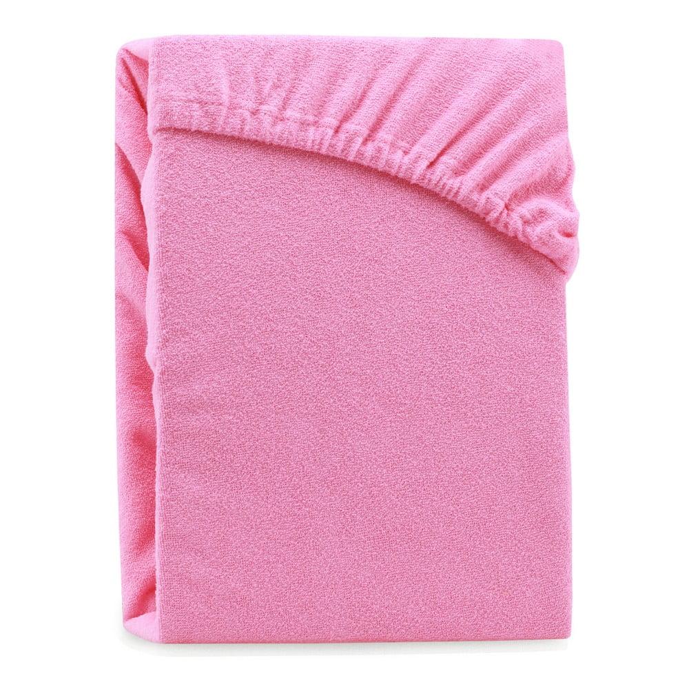 Ružová elastická plachta na dvojlôžko AmeliaHome Ruby Pink, 200-220 x 200 cm