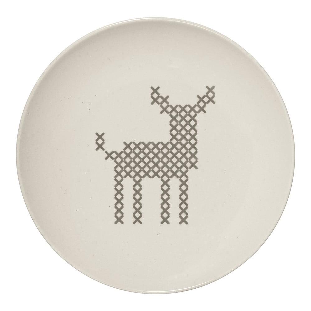Biely kameninový tanier Bloomingville Cross, ⌀ 20 cm
