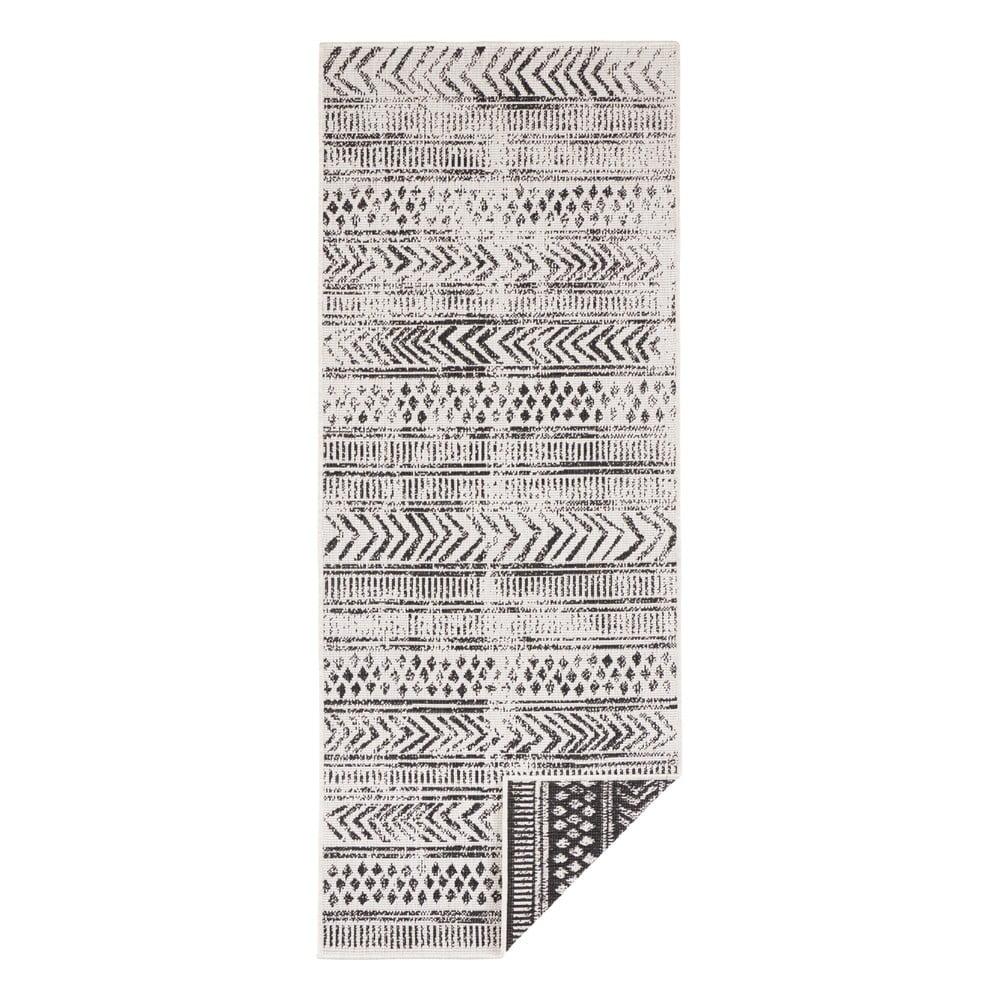 Čierno-krémový vonkajší koberec Bougari Biri, 80 x 350 cm