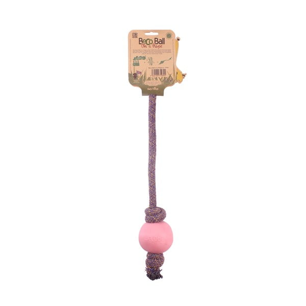 Povraz s loptičkou na hranie Beco Rope 45 cm, ružový