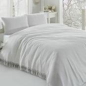 Biely bavlnený ľahký pléd cez posteľ Pique, 220×240 cm
