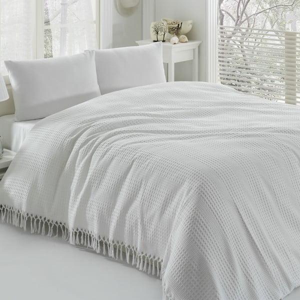 Biela ľahká prikrývka cez posteľ Pique, 220x240cm
