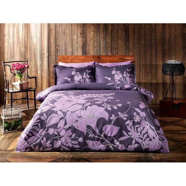 Obliečky TAC Purple Flowers s plachtou, 160 x 220 cm