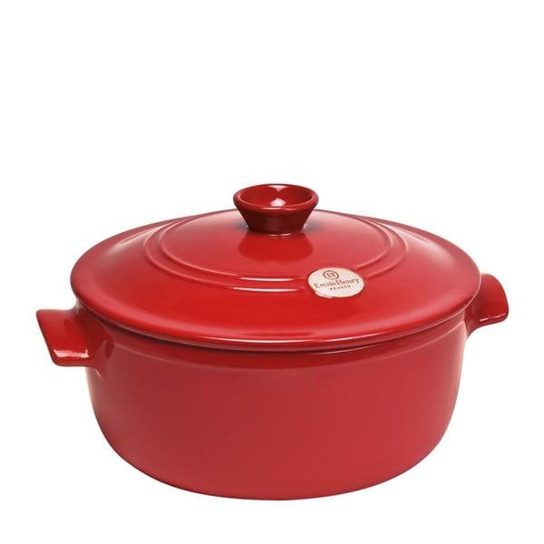 Červený okrúhly hrniec s pokrievkou Emile Henry, 22 cm