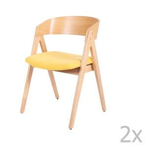 Sada 2 jedálenských stoličiek z kaučukovníkového dreva so žltým podsedákom sømcasa Rina