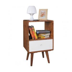 Nočný stolík s bielou zásuvkou z masívneho sheeshamového dreva Skyport REPA
