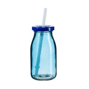 Modrá fľaša na smoothie s viečkom a slamkou SUMMER FUN II, 200ml