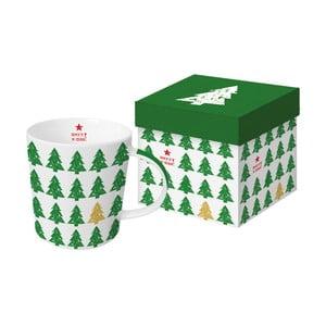 Porcelánový hrnček s vianočným motívom v darčekovom balení PPD Scandic Tree Green, 350 ml